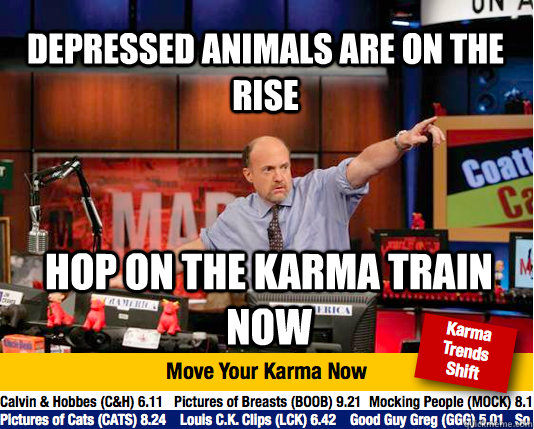 depressed animals are on the rise hop on the karma train now - depressed animals are on the rise hop on the karma train now  Mad Karma with Jim Cramer
