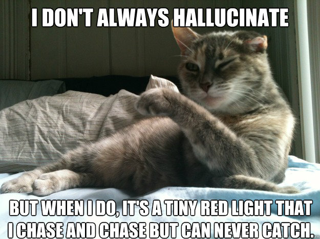 I don't always hallucinate But when I do, it's a tiny red light that I chase and chase but can never catch. - I don't always hallucinate But when I do, it's a tiny red light that I chase and chase but can never catch.  Misc