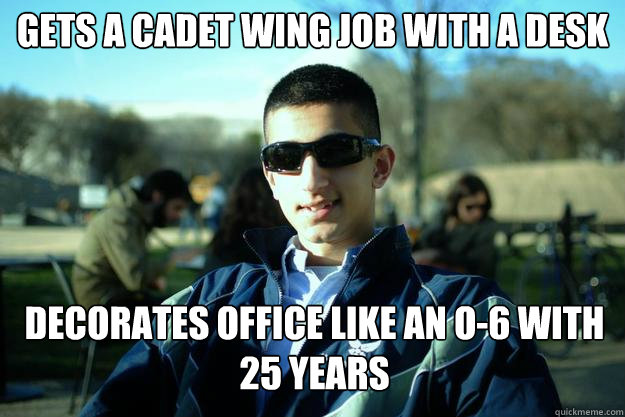 gets a cadet wing job with a desk decorates office like an O-6 with 25 years  Douchey AFROTC cadet