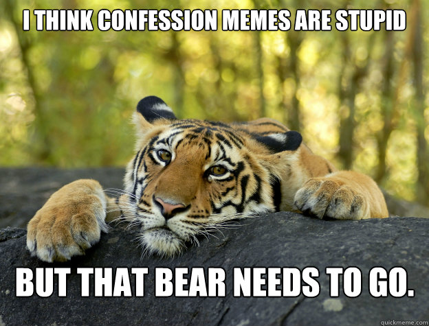 I think confession memes are stupid but that bear needs to go. - I think confession memes are stupid but that bear needs to go.  Confession Tiger