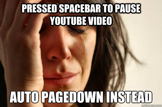 Pressed spacebar to pause YouTube video auto pagedown instead - Pressed spacebar to pause YouTube video auto pagedown instead  First World Problems