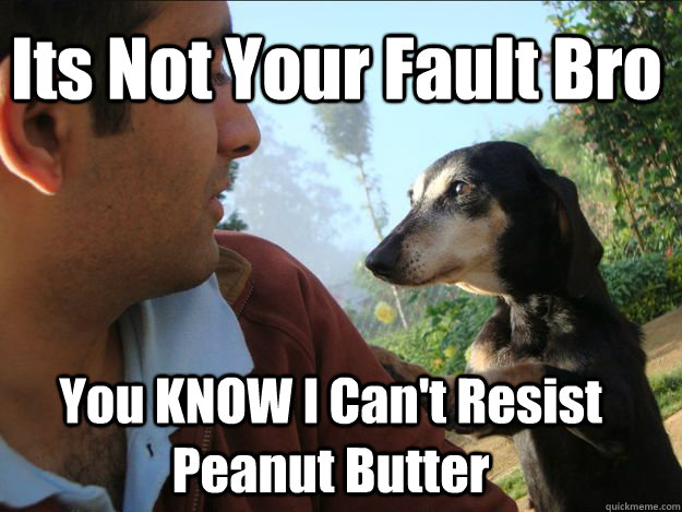 Its Not Your Fault Bro You KNOW I Can't Resist Peanut Butter