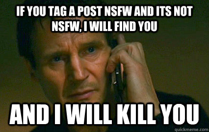 If you tag a post NSFW and its not NSFW, I will find you  And i will kill you  - If you tag a post NSFW and its not NSFW, I will find you  And i will kill you   Angry Liam Neeson