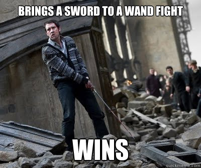 Brings A Sword to a wand fight Wins  Neville owns