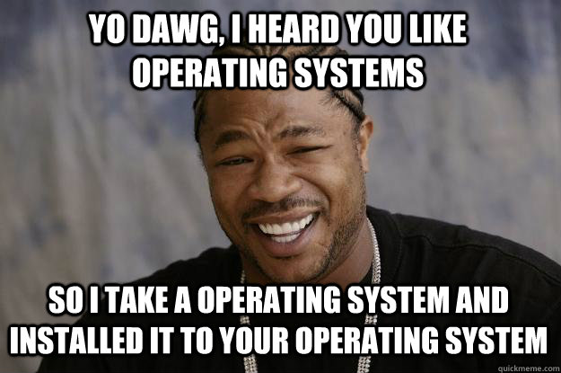 Yo dawg, i heard you like operating systems so i take a operating system and installed it to your operating system  Xzibit meme