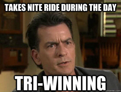 Takes Nite Ride During the Day TRI-WINNING  Charlie sheen