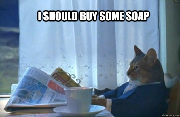 I should buy some soap - I should buy some soap  Sophisticated Cat
