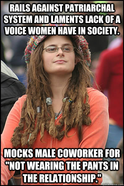 RAILS AGAINST PATRIARCHAL SYSTEM AND LAMENTS LACK OF A VOICE WOMEN HAVE IN SOCIETY. MOCKS MALE COWORKER FOR