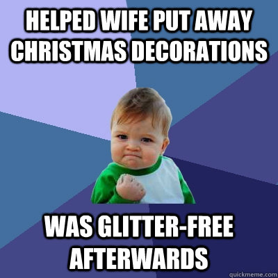 Helped wife put away Christmas decorations was glitter-free afterwards - Helped wife put away Christmas decorations was glitter-free afterwards  Success Kid