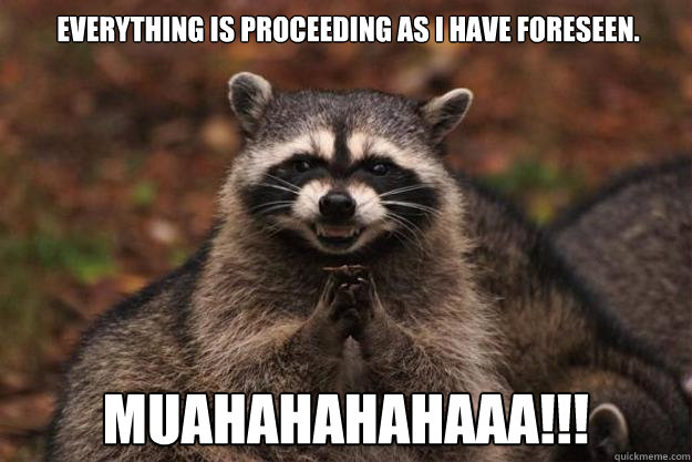 Everything is proceeding as I have foreseen. muahahahahaaa!!! - Everything is proceeding as I have foreseen. muahahahahaaa!!!  Evil Plotting Raccoon