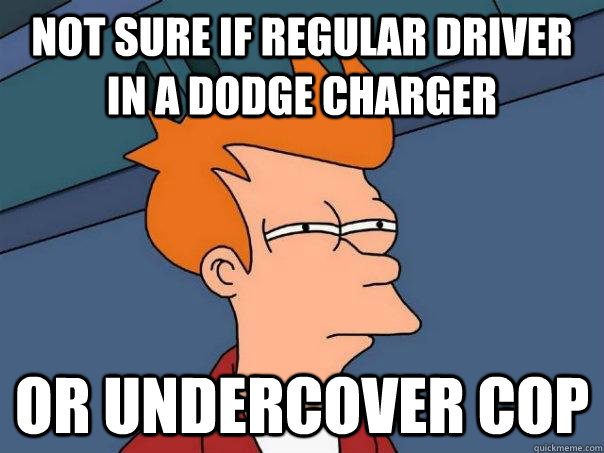 not sure if regular driver in a Dodge charger or undercover cop - not sure if regular driver in a Dodge charger or undercover cop  FuturamaFry