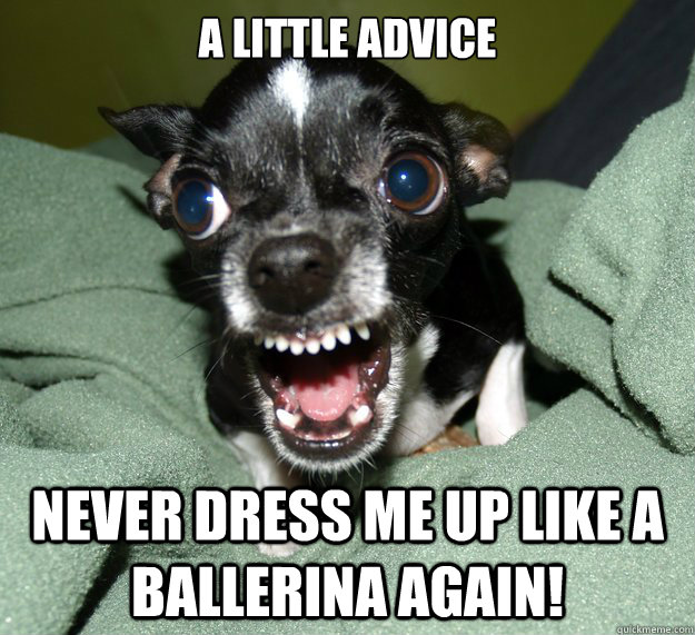 A little advice Never dress me up like a ballerina again!