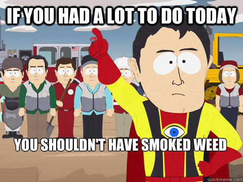 If you had a lot to do today You shouldn't have smoked weed - If you had a lot to do today You shouldn't have smoked weed  Captain Hindsight