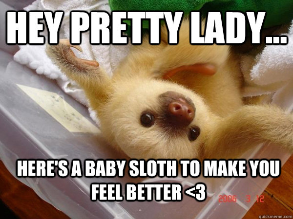 Hey pretty lady... Here's a baby sloth to make you feel better <3