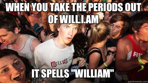 When you take the periods out of Will.i.am  It spells