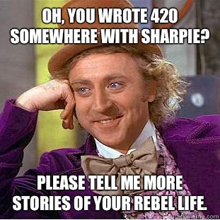 Oh, you wrote 420 somewhere with sharpie? Please tell me more stories of your rebel life. - Oh, you wrote 420 somewhere with sharpie? Please tell me more stories of your rebel life.  Condescending Wonka
