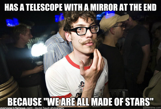 Has a telescope with a mirror at the end because