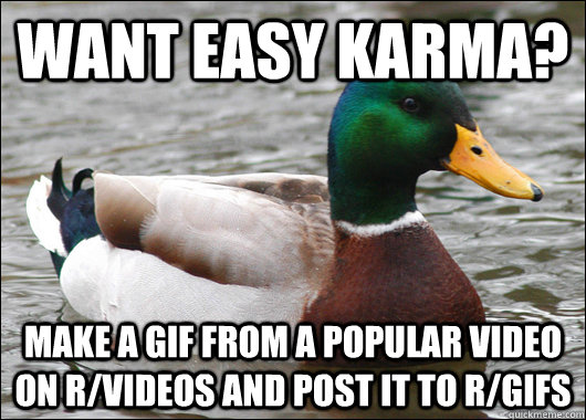 Want easy karma? Make a gif from a popular video on r/videos and post it to r/gifs - Want easy karma? Make a gif from a popular video on r/videos and post it to r/gifs  Actual Advice Mallard