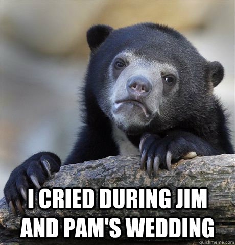 I cried during Jim and Pam's Wedding -  I cried during Jim and Pam's Wedding  Confession Bear
