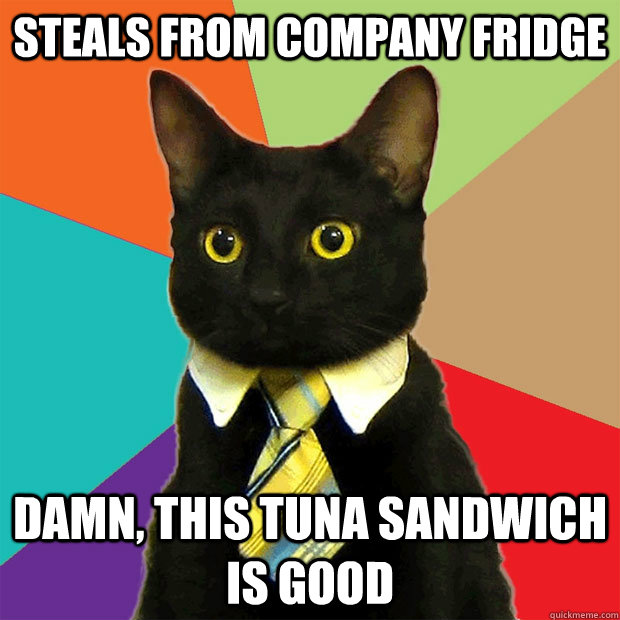 Steals from company fridge Damn, this tuna sandwich is good - Steals from company fridge Damn, this tuna sandwich is good  Business Cat