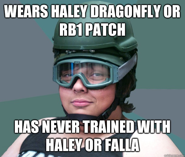 Wears haley dragonfly or rb1 patch Has never trained with haley or falla