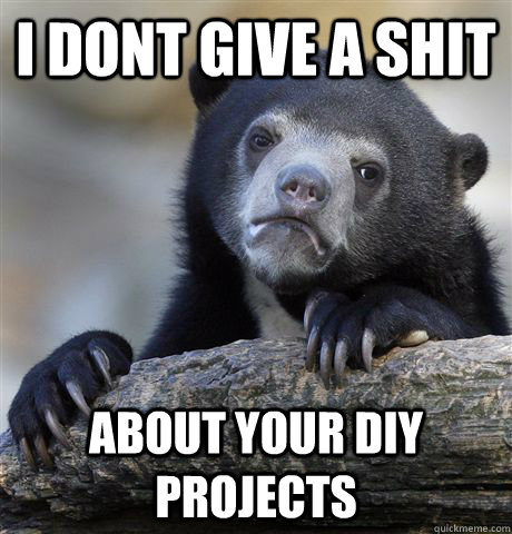 i dont give a shit about your DIY projects - i dont give a shit about your DIY projects  Confession Bear