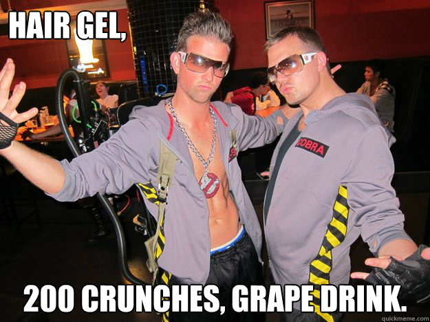 Hair Gel, 200 crunches, Grape drink.