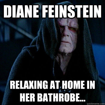 Diane Feinstein relaxing at home in her bathrobe...
