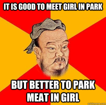 it is good to meet girl in park but better to park meat in girl - it is good to meet girl in park but better to park meat in girl  Confucius says