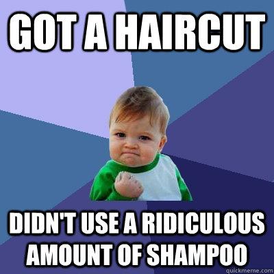 got a haircut didn't use a ridiculous amount of shampoo  Success Kid