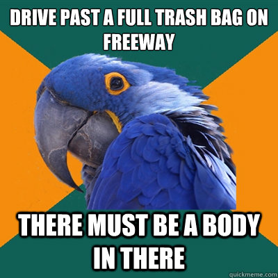 Drive past a full trash bag on  freeway There must be a body in there - Drive past a full trash bag on  freeway There must be a body in there  Paranoid Parrot