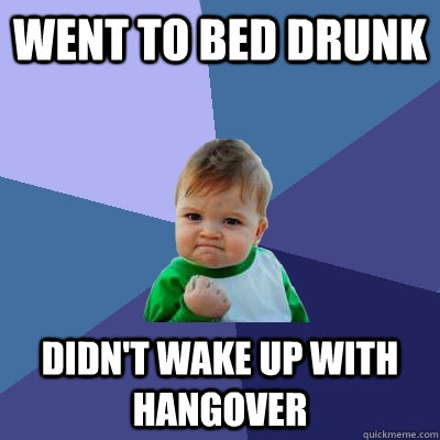 Went to bed drunk Didn't wake up with hangover - Went to bed drunk Didn't wake up with hangover  Success Kid