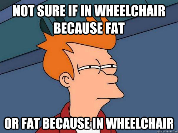 Not sure if in wheelchair because fat Or fat because in wheelchair - Not sure if in wheelchair because fat Or fat because in wheelchair  Futurama Fry