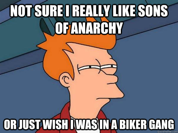 Not sure I really like Sons of Anarchy Or just wish i was in a biker gang - Not sure I really like Sons of Anarchy Or just wish i was in a biker gang  Futurama Fry