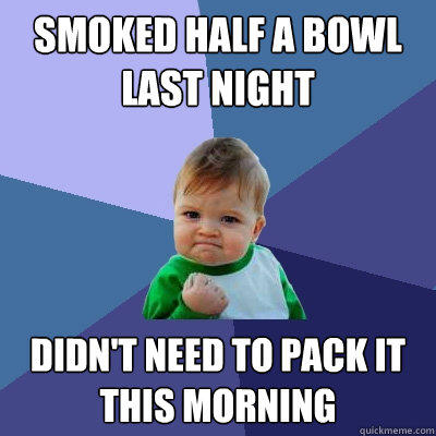 smoked half a bowl last night didn't need to pack it this morning - smoked half a bowl last night didn't need to pack it this morning  Success Kid