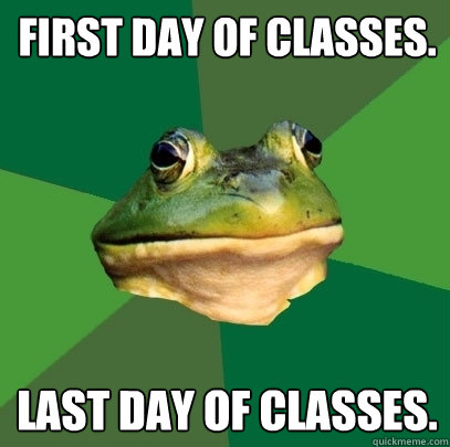 First day of classes. Last day of classes. - First day of classes. Last day of classes.  Foul Bachelor Frog