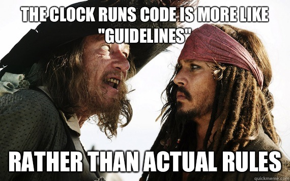 The clock runs code is more like