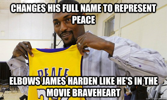 90f029251f26 Changes his full name to represent peace elbows james harden like he s in  the movie braveheart