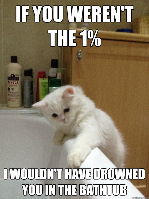 If you weren't the 1% I wouldn't have drowned you in the bathtub - If you weren't the 1% I wouldn't have drowned you in the bathtub  Evil Hindsight Cat
