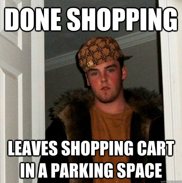 done shopping leaves shopping cart in a parking space - done shopping leaves shopping cart in a parking space  Scumbag Steve