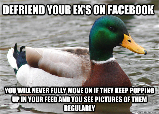 Defriend your ex's on facebook  you will never fully move on if they keep popping up in your feed and you see pictures of them regularly  - Defriend your ex's on facebook  you will never fully move on if they keep popping up in your feed and you see pictures of them regularly   Actual Advice Mallard