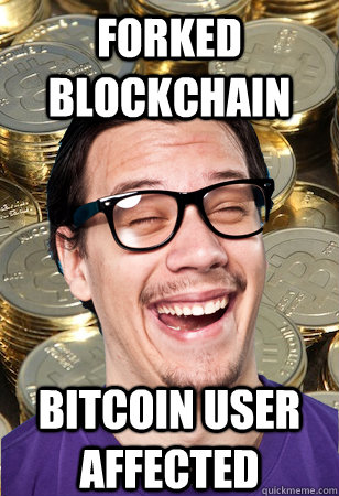 Forked blockchain bitcoin user affected