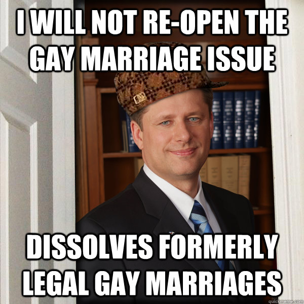 I will not re-open the Gay Marriage issue dissolves formerly legal gay marriages