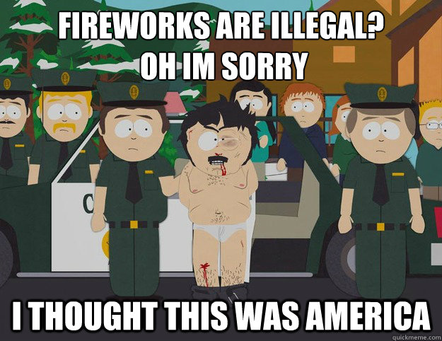 fireworks are illegal?  oh im sorry I THOUGHT THIS WAS AMERICA