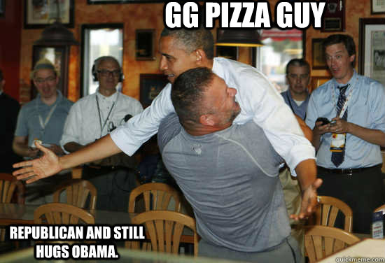 GG Pizza Guy Republican and STILL hugs Obama.  - GG Pizza Guy Republican and STILL hugs Obama.   Hug Obama