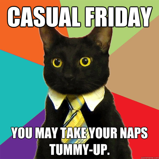 Casual Friday You may take your naps tummy-up. - Casual Friday You may take your naps tummy-up.  Business Cat
