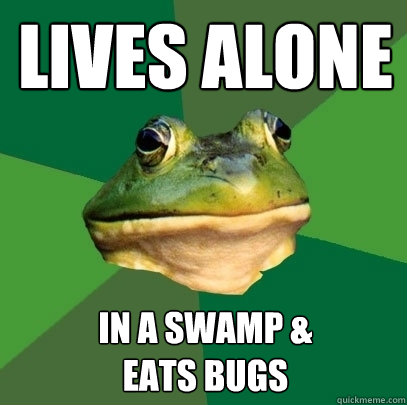 Lives alone in a swamp &  eats bugs - Lives alone in a swamp &  eats bugs  Foul Bachelor Frog