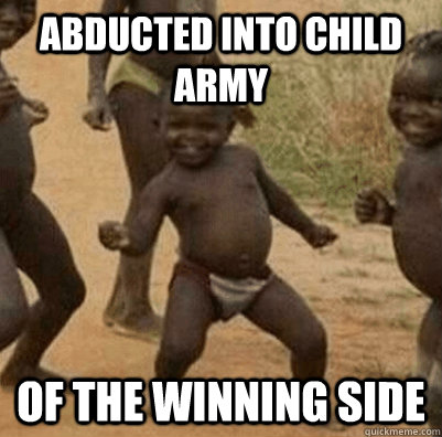 abducted into child army of the winning side