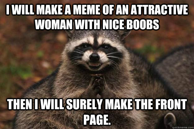 I will make a meme of an attractive woman with nice boobs then I will surely make the front page. - I will make a meme of an attractive woman with nice boobs then I will surely make the front page.  Evil Plotting Raccoon