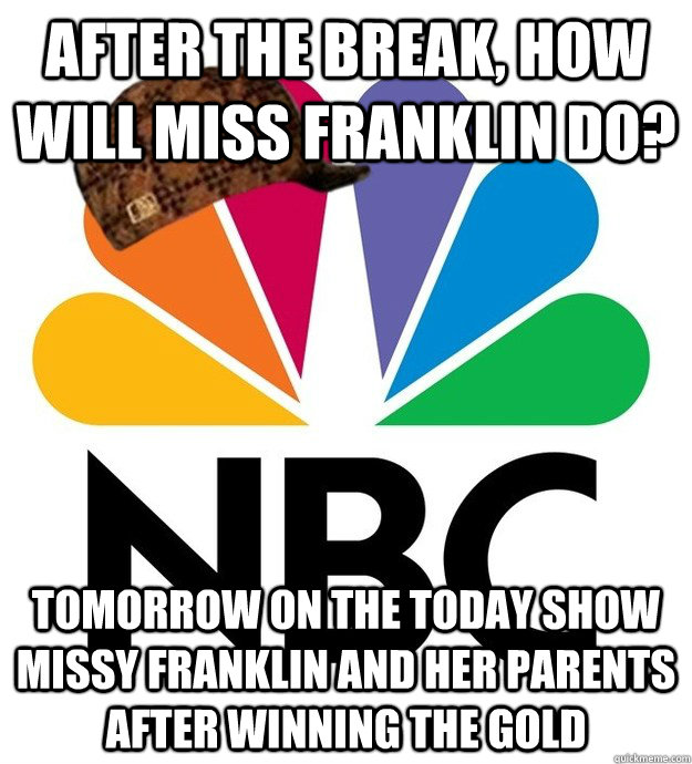 After the break, how will miss franklin do? Tomorrow on the today show missy franklin and her parents after winning the gold